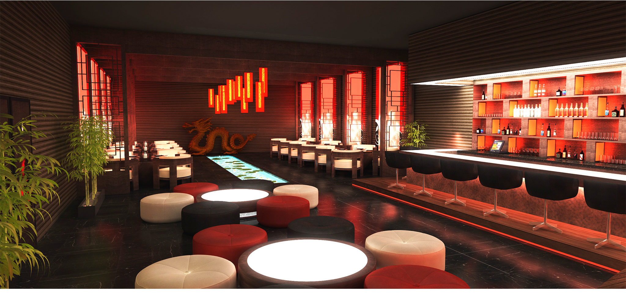 Asian Restaurant 3D Image